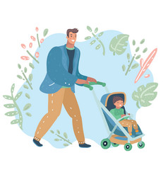 young father pushing carriage vector image