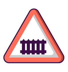 Crossing railroad barrier icon cartoon style vector