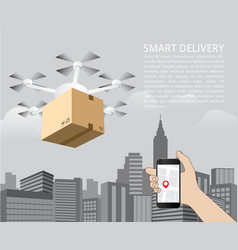 drone delivery concept quadcopter vector image vector image