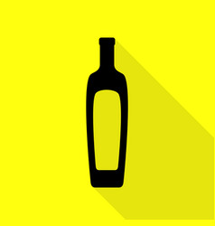 olive oil bottle sign black icon with flat style vector image