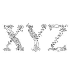Tropical floral letter xyz vector