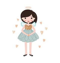 childish stylish cartoon angel vector image