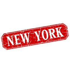 new york red square grunge retro style sign vector image vector image