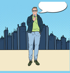 pop art man with microphone male tv reporter vector image