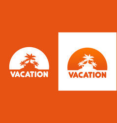 round icon with palm trees vector image