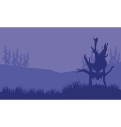 Silhouette of monster tree halloween vector image vector image