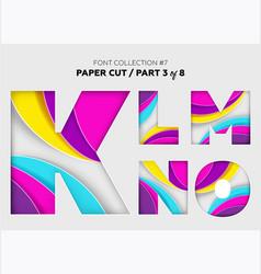 carved paper art font design beautiful 3d vector image