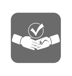 customer service icon with handshake sign vector image