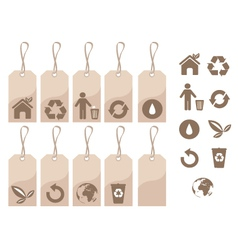 ecology tags and icons vector image vector image