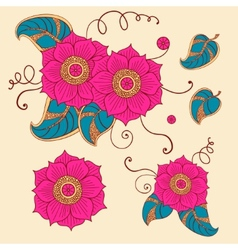 Floral set in vector image