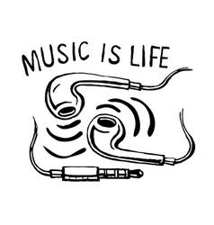 headphones smartphone music is life vector image