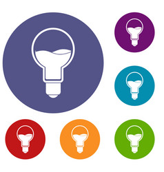 light bulb with blue water inside icons set vector image vector image