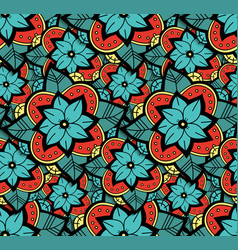 seamless color flower pattern vector image vector image