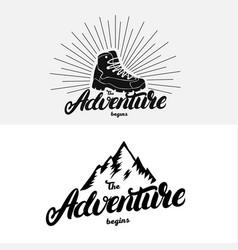 set of the adventure begins hand written lettering vector image vector image