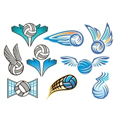 Volleyball ball emblems collection vector image
