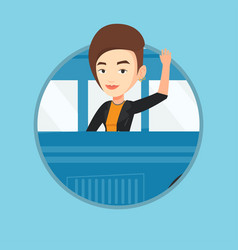 woman waving hand from bus window vector image