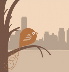 bird and city vector image vector image