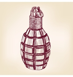 grenade hand drawn llustration realistic vector image