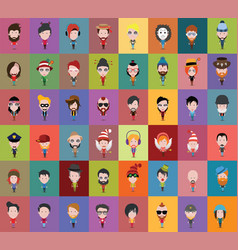 set of people icons in flat style vector image vector image