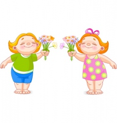 two babies with bouquets vector image vector image