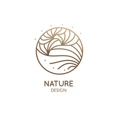 abstract flower logo template round emblem plant vector image