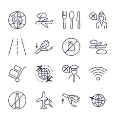 airport theme line icon set pixel perfect fully vector image