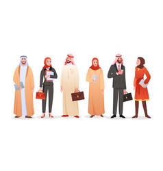 Arab business people isolated set cartoon saudi vector