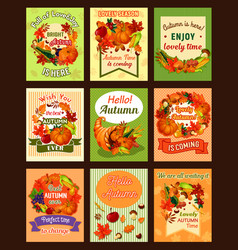Autumn leaf and fall harvest retro poster set vector