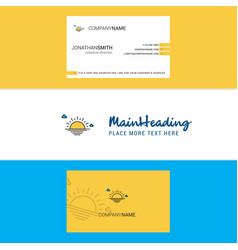 beautiful sunset logo and business card vertical vector image