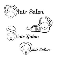 Beauty hair face woman silhouette vector
