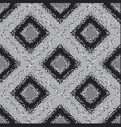 Black and white plaid carpet seamless pattern vector