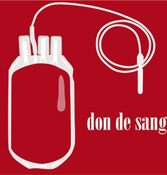 Blood bag with text blood donate vector image