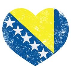 Bosnia and Herzegovina retro heart flag vector image