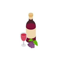 Bottle of red wine and glass icon vector image