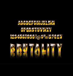 brutal typeface alphabet vector image
