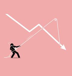Businessman pulling a falling arrow graph chart vector