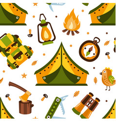 camping seamless pattern with hiking equipment vector image