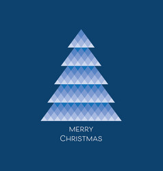 Card with blue mosaic christmas tree vector