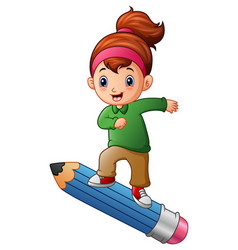 cartoon girl standing on pencil vector image