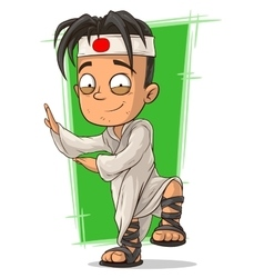 Cartoon kung fu boy in white kimono vector