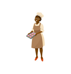 Cartoon lady cook holding tray with freshly baked vector