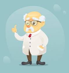 Cartoon old funny scientist vector
