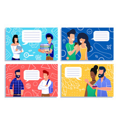 Cartoon people community having short dialog set vector