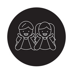 children laughing black concept icon vector image
