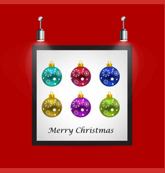 christmas balls frame on red background vector image