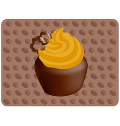 Coffee cupcake vector