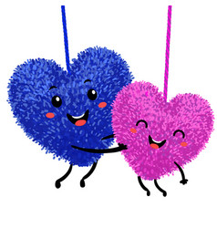 Colorful of two soft toy in the shape vector