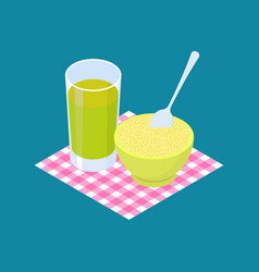 couscous porridge and fruit juice breakfast vector image