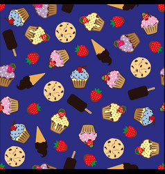 Cupcake pattern white background vector