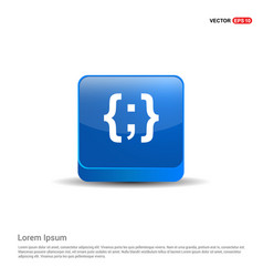 Curly bracket icon - 3d blue button vector